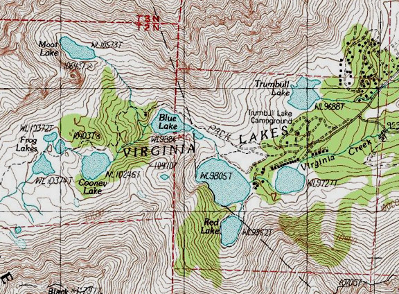 Virginia Lakes Map Virginia Lakes / Between Lee Vining and Bridgeport   East Slopes  Virginia Lakes Map